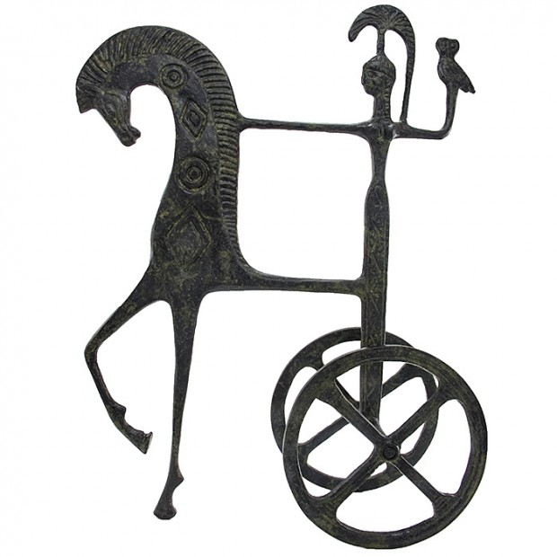 Ancient Greek Chariot of Goddess Athena Holding an Owl