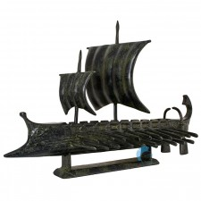 Ancient Greek Trireme, a warship, with two sails