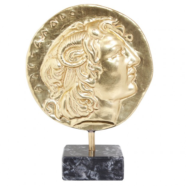 Bronze Mask of Alexander the Great with Marble Base